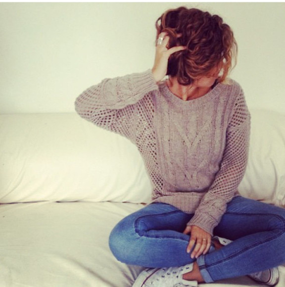 sweater beige sweater knit sweater brandy melville