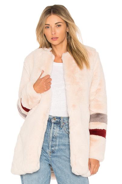 Lovers + Friends coat fur coat fur blush