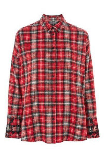Topshop shirt checked shirt floral red top