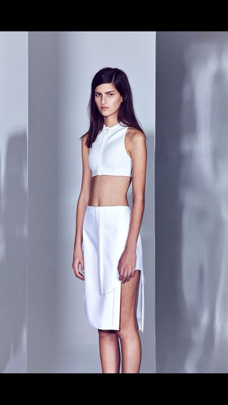 dress white two piece fahion beautiful model