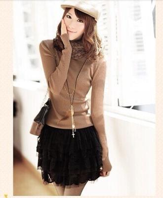 sweater beige shirt cute brown skirt