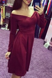 dress,fashion,cute,girly,burgundy,long sleeves,off the shoulder,trendy,adorable outfit,midi dress,red,rosegal-jan