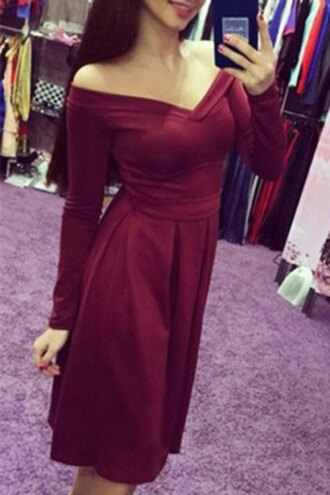 dress fashion cute girly burgundy long sleeves off the shoulder trendy adorable outfit midi dress red rosegal-jan