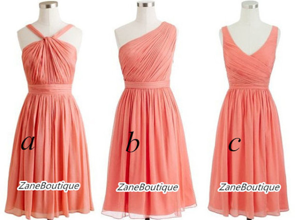 coral chiffon short bridesmaid evening dress prom dress prom dress