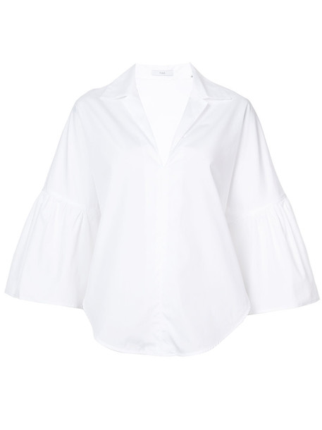 shirt women bell sleeves white cotton top