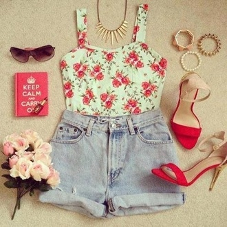 tank top wide straps spike necklace flowers floral bustier bustier top shorts high waisted shorts demin roll-up rolled hem high heels hipster spikes summer top sunglasses shoes