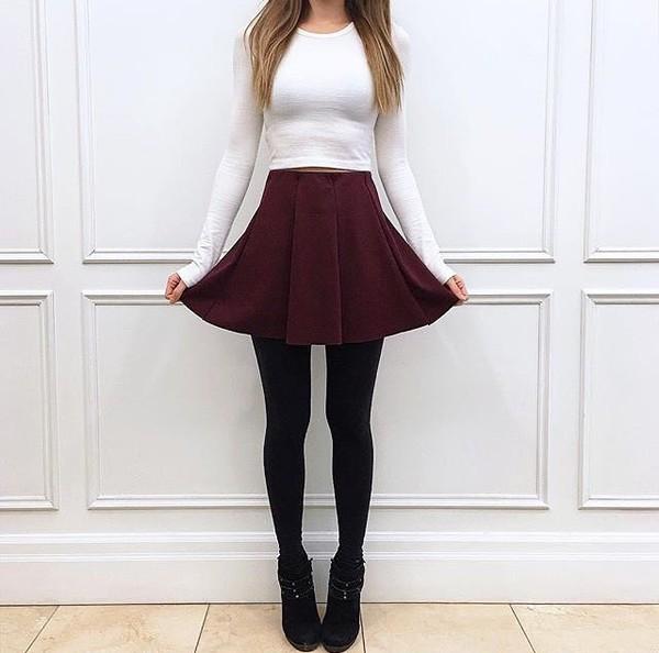 skirt pleated red short skirt white black booties