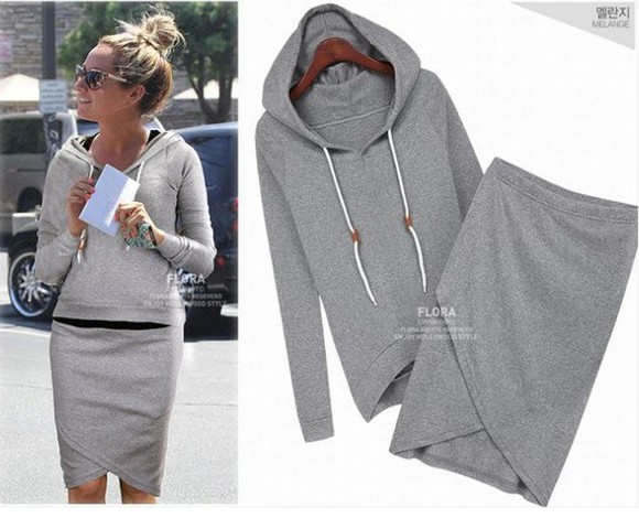 long sleeves hoodie coat keen-length skirt women clothing casual sweatshirt suit set two pieces