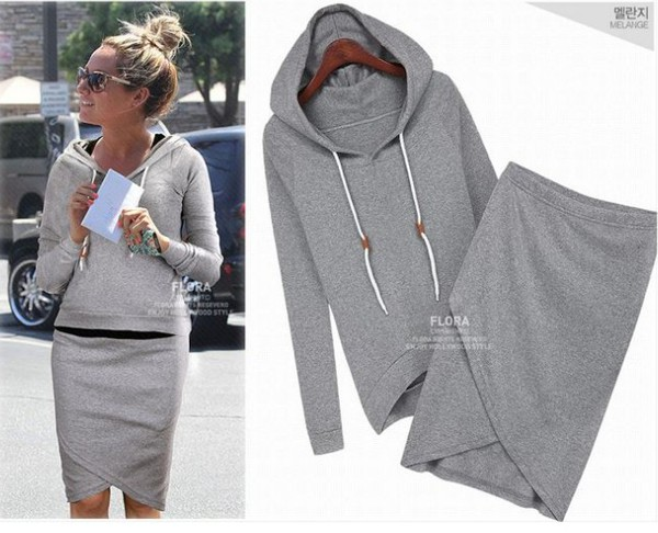 hoodie coat long sleeves keen-length skirt women clothing casual sweatshirt suit two-piece