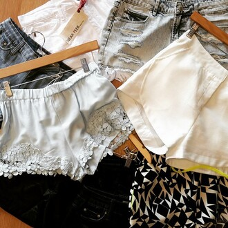 shorts wilde heart lace floral blue shorts cotton shorts