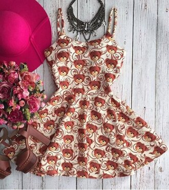 dress bear fashion trendy style cute teenagers girly summer kawaii printed dress rosegal-jan