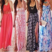 dress,bright,summer dress,multicolor,maxi skirt,slit skirt,jewels,light pink,bag,top,skirt,shoes