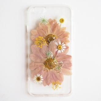 phone cover daisy pink pink flowers flowers floral cute handmade trendy pressed flowers daisy lover shabibisheep