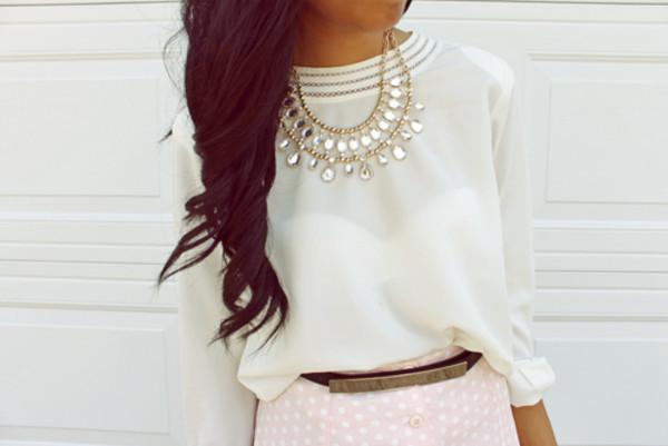blouse necklace shorts belt pants shirt jewels chic jewels elegant accessories