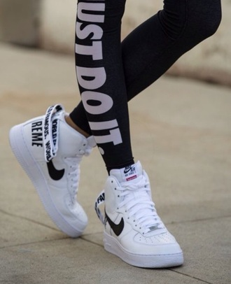 nike running shoes nike sneakers high top sneakers sports pants leggings just do it black leggings gym leggings pants white sneakers