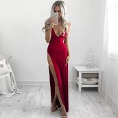 dress,red,red dress,evening dress,long evening dress,prom dress,prom,red prom dress,long prom dress,maxi dress,slit dress,party dress,sexy party dresses,sexy,sexy dress,slit,party outfits,sexy outfit,new year's eve,classy dres,classy dress,elegant dresss,elegant dress,cocktail dress,cute dress,girly dress,date outfit,birthday dress,wedding clothes,wedding guest,engagement party dress,thigh high slit,red satin dress