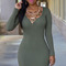 Army green long sleeve cross back bodycon sweater dress