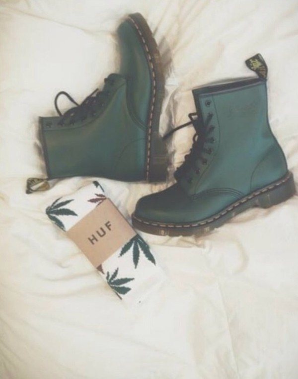 shoes combat boots DrMartens DrMartens green underwear