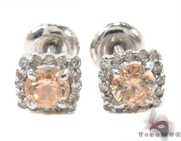 jewels earrings diamonds peach earrings peach stud earrings studs stud earrings diamond studs