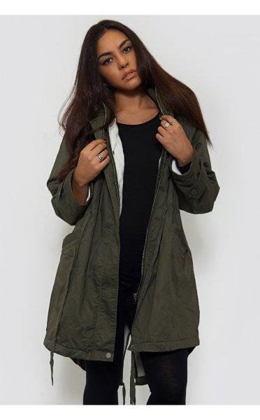 Green Dipped Hem Fur Parka - from The Fashion Bible UK
