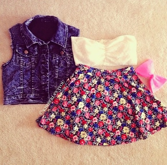 skirt denim vest floral lace bow bandeau