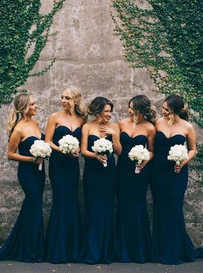 Women Elegant Cheap Sweet Heart Navy Mermaid Long Bridesmaid Dresses - Dorashop Sale Online
