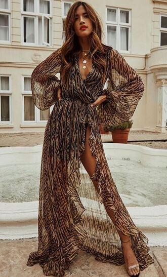 dress wrap dress see through see through dress maxi dress gown rocky barnes instagram blogger