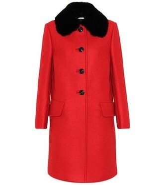overcoat fur red coat