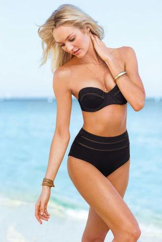 swimwear bikini top black bikini bikini high waisted bikini bandeau swimsuit retro swimsuit