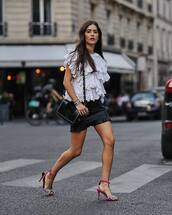 skirt,mini skirt,leather skirt,ruffled top,white top,high heel sandals,shoulder bag
