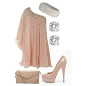 dress,clothes,high heels,pumps,peach dress,peach,shimmering,shimmer,one shoulder,shoes,glitter,sparkle,nude dress,semi formal,prom dress,embellished dress,pink dress,cream dress,formal dress,cream,pink,heels,semi,formal,prom,pink with bling bling ^^,pink coral,loose,loose-fitting style,shirt