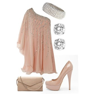 dress clothes high heels pumps peach dress peach shimmering shimmer one shoulder shoes glitter sparkle nude dress pink with bling bling ^^