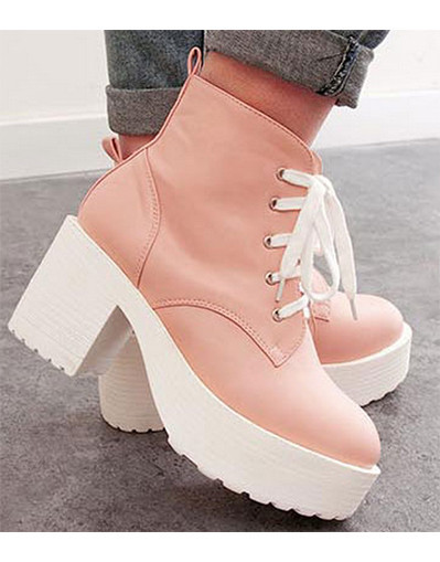 Chunky platforms chunky high heel heels pink white black leather