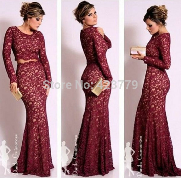 Aliexpress.com : Buy New Fashion Long Dresses Evening Mermaid Scoop Neck Dark Red Two Piece Long Sleeves Lace robe de soiree 2014 from Reliable lace co suppliers on 27 Dress