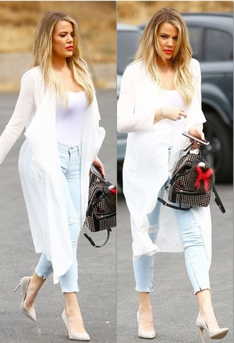 cardigan jeans pumps khloe kardashian top