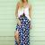 Blue Slit Maxi Skirt