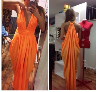 orange dress dress maxi dress silk summer dress formal orange maxi