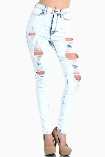LoveMelrose.com From Harry & Molly | Ripped High Waist Jeans - Light Acid Wash