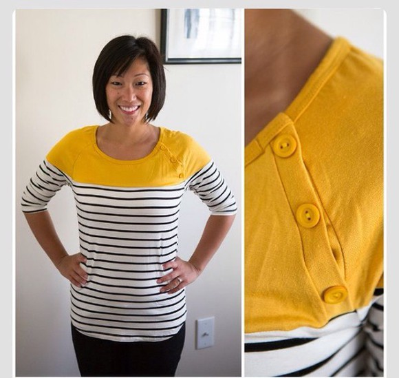 stripes color block sweater top yellow