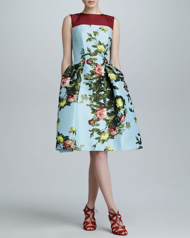 Floral Jacquard Full-Skirt Dress, Sky/Multicolor