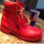shoes,timberland,boots,red,red on red,gold,sexy,cool,swag,dope