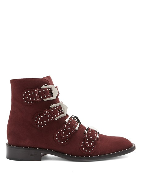 Givenchy suede ankle boots studded elegant ankle boots suede burgundy shoes