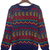 Sapphire Blue Tribal Pattern Round Neck Jumper Sweater - Sheinside.com