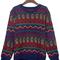 Sapphire blue tribal pattern round neck jumper sweater - sheinside.com