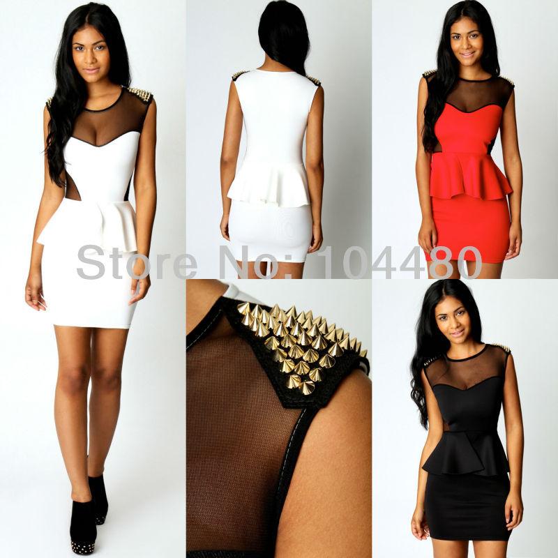 M L plus size new 2014 fashion women rivet spiker bodycon low cut lace peplum sexy club party bodycon mini dress Red White Black   Amazing Shoes UK