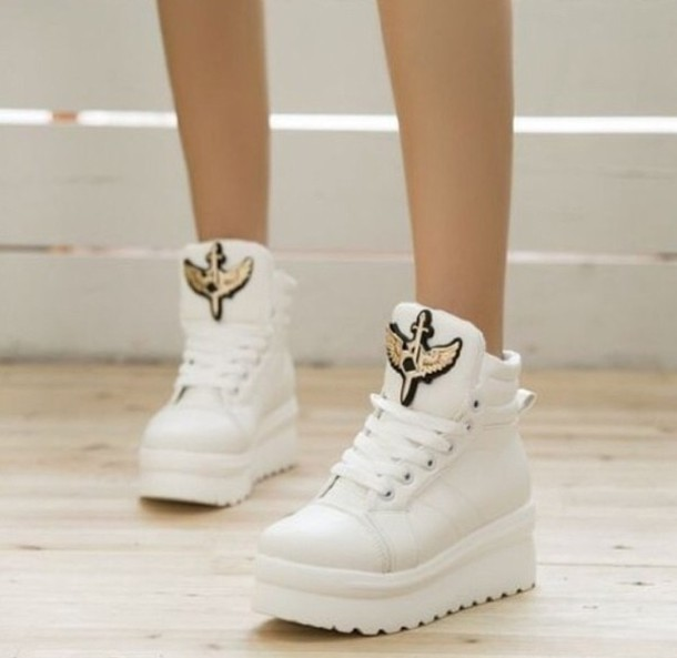 shoes white sneakers white high tops platform shoes
