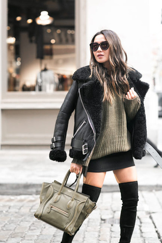 jacket tumblr shearling jacket black shearling jacket black jacket black leather jacket leather jacket sweater green sweater bag green bag boots black boots over the knee boots thigh high boots skirt mini skirt black skirt sunglasses black sunglasses fall outfits