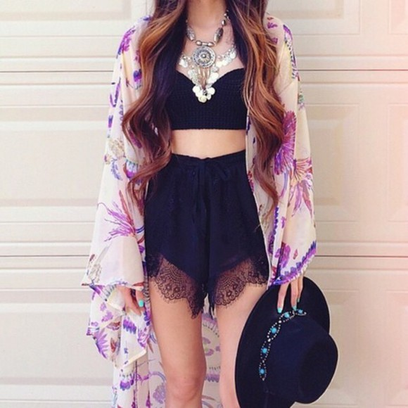 jewels cute coachella lace boho top gypsy festival cardigan kimono black shorts outfit