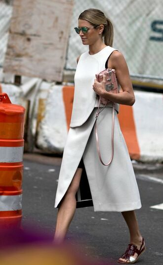 shoes slingbacks slingback sandals slingback flats white top and skirt white top white slit skirt minimalist streetstyle fashion week louis vuitton bag green sunglasses