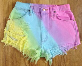 denim shorts high waisted tie dye rainbow shorts dip dyed shorts high waisted shorts